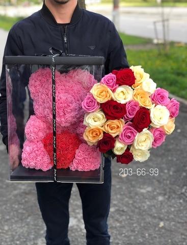 25 роз 60 см и Мишка из роз 40 см в подарочной коробке #13528