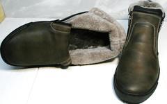 Зимние ботинки на цигейке мужские Rifellini Rovigo 046 Brown Black.