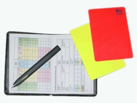 Набор карточек для футбольного арбитра. В комплекте: 1 карточка