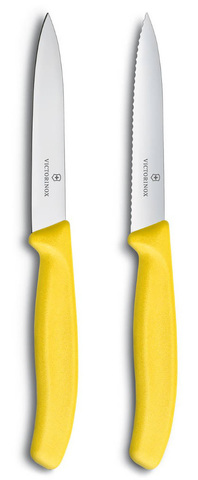 Набор Victorinox кухонный, 2 предмета, лезвие прямое и волнистое, желтый
