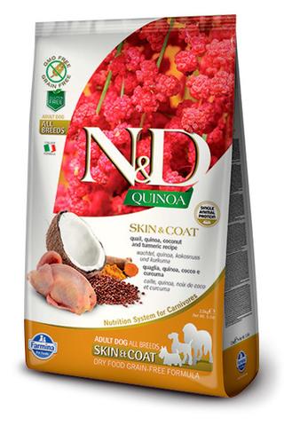 7 кг. FARMINA N&D Quinoa Сухой корм для взрослых собак с перепелом, киноа, кокосом и куркумой Adult Dog Skin&Coat Quail