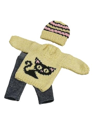 Вязаный комплект - Кот. Одежда для кукол, пупсов и мягких игрушек.