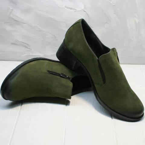 Кожаные туфли на невысоком каблуке 5 см. Осенние женские туфли цвета хаки MissRozella-Khaki.