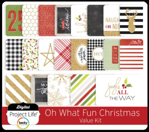 Kit набор карточек и украшений для Project Life 70шт -Heidi Swapp Oh What Fun Project Life Christmas Value Kit Gold Glitter