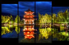 """Модульная картина """"Вечер в японском саду"""""""
