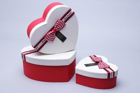 Коробка Сердце набор из 3 шт. 21x20,5x9 см, цвет: красный/белый