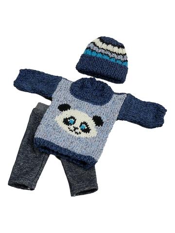 Вязаный комплект - Панда. Одежда для кукол, пупсов и мягких игрушек.