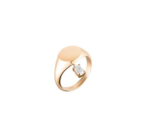 Кольцо-печатка с белым топазом в розовой позолоте