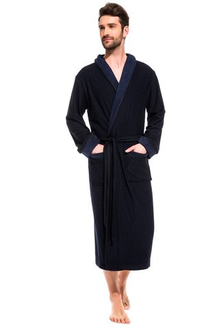 Облегченный махровый халат из бамбука 419 синий PÊCHE MONNAIE