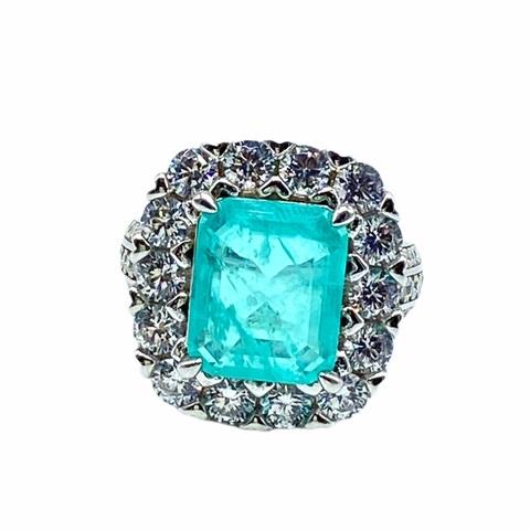 85139 -  Кольцо из серебра с кварцем цвета парабаиба