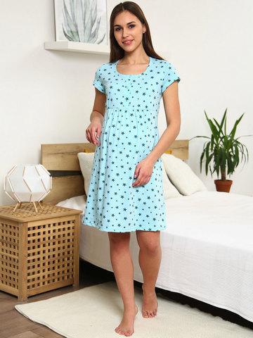 Мамаландия. Сорочка для беременных и кормящих с кнопками короткий рукав, светло-голубой