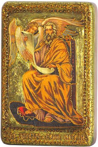 Инкрустированная Икона Святой апостол и евангелист Матфей 15х10см на натуральном дереве, в подарочной коробке