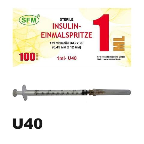 Шприц ( 3-х комп.) 1 мл инсулиновый U-40 с иглой 0,45х12