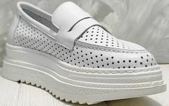 Летние кроссовки лоферы женские кожаные Derem 372-17 All White.