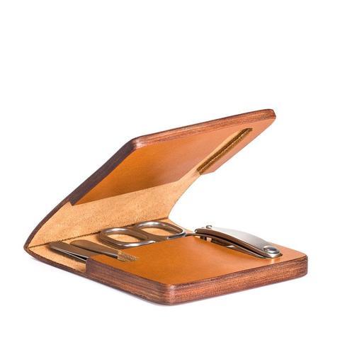 Маникюрный набор MUEHLE, чехол из натуральной коричневой кожи