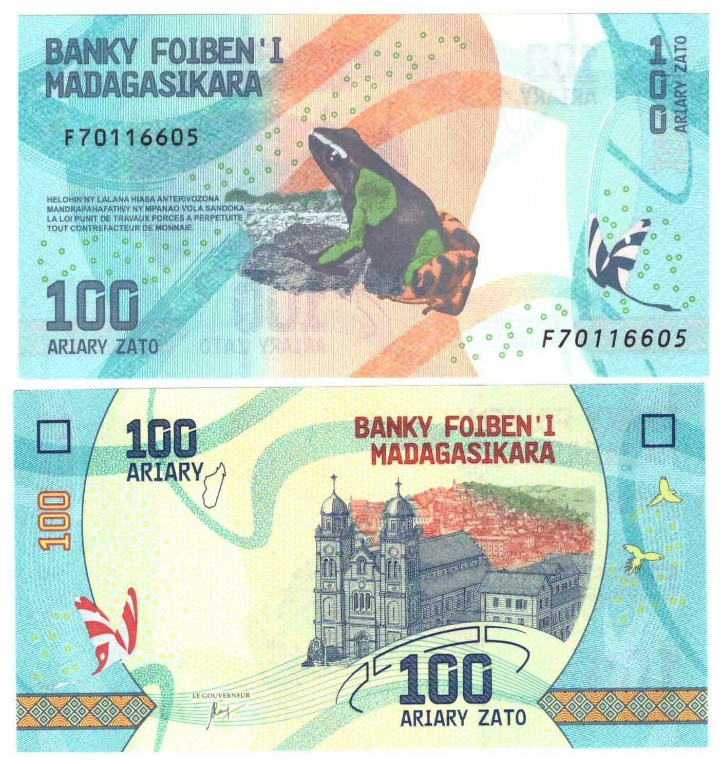 Банкнота 100 ариари. Мадагаскар. 2017 год. UNC