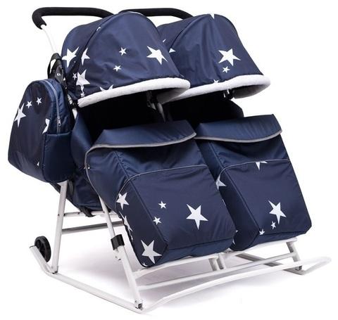 Санки коляска для двойни ЗВЁЗДЫ синий
