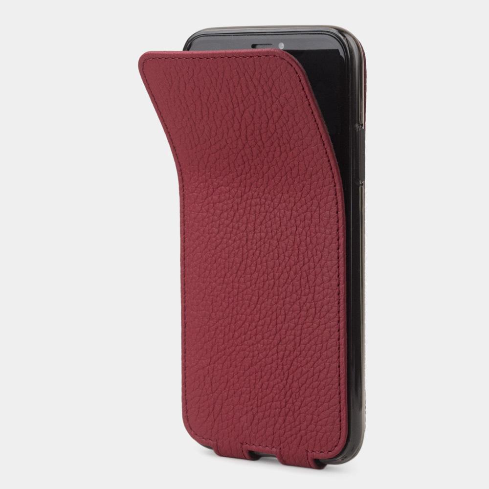 Чехол для iPhone X/XS из натуральной кожи теленка, вишневого цвета
