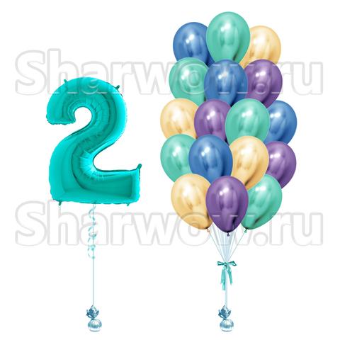 Композициях из воздушных шаров хром на День Рождения