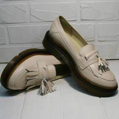 Кожаные туфли женские на низком ходу Markos S-6 Light Beige.
