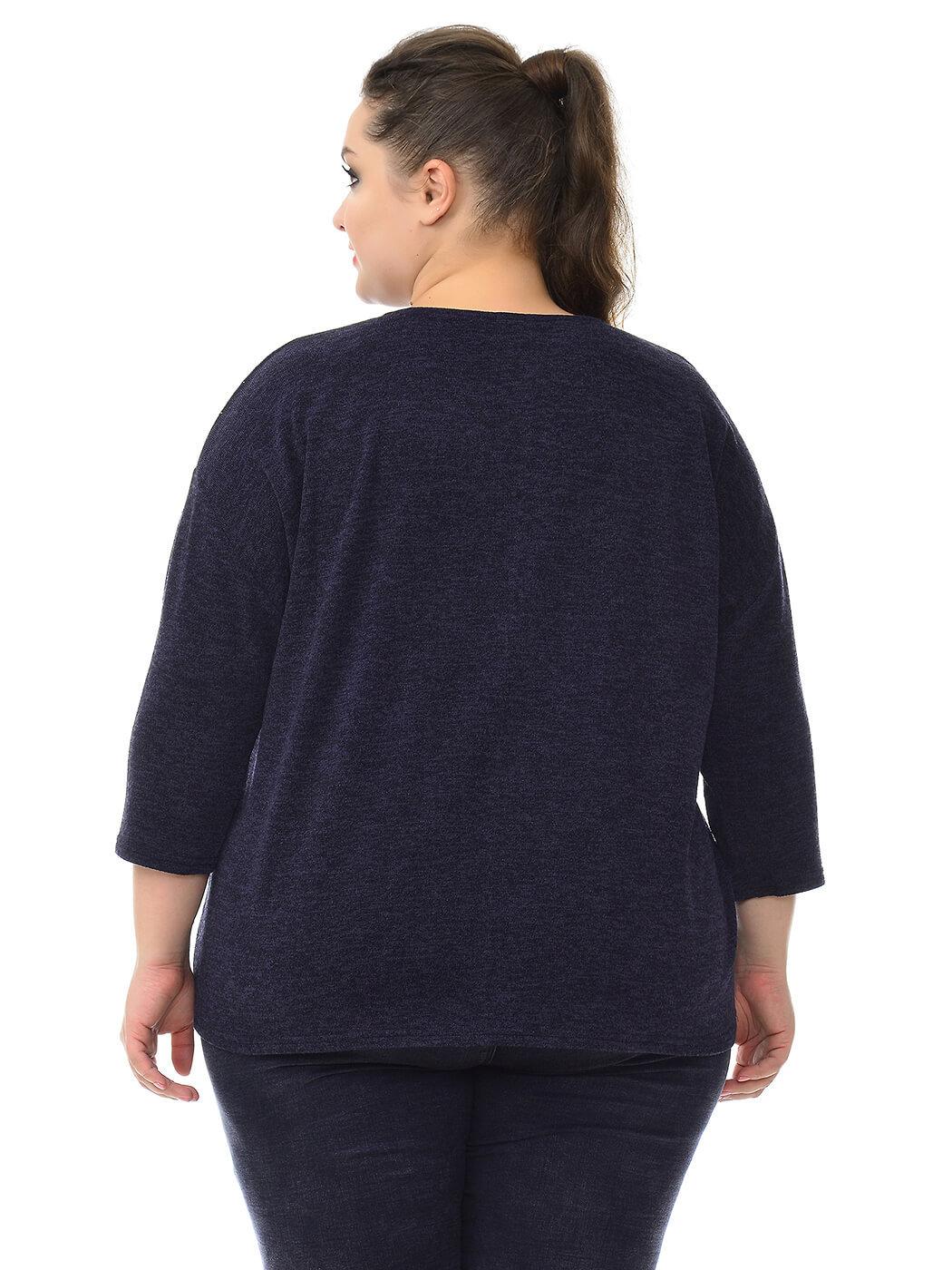 Блуза свободная Ангора темно-синяя