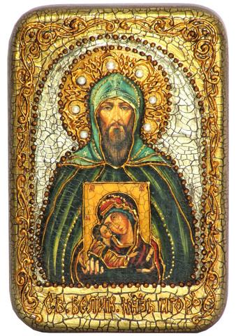 Инкрустированная икона Святой князь Игорь 15х10см на натуральном дереве, в подарочной коробке