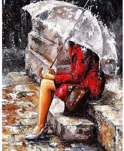 Алмазная Мозаика 20x30 Девшука под зонтом