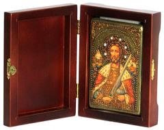 Инкрустированная Икона Святой благоверный князь Александр Невский 15х10см на натуральном дереве, в подарочной коробке