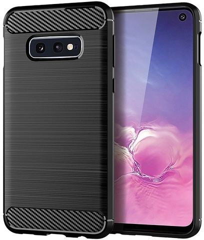 Чехол для Samsung Galaxy S10e цвет Black (черный), серия Carbon от Caseport