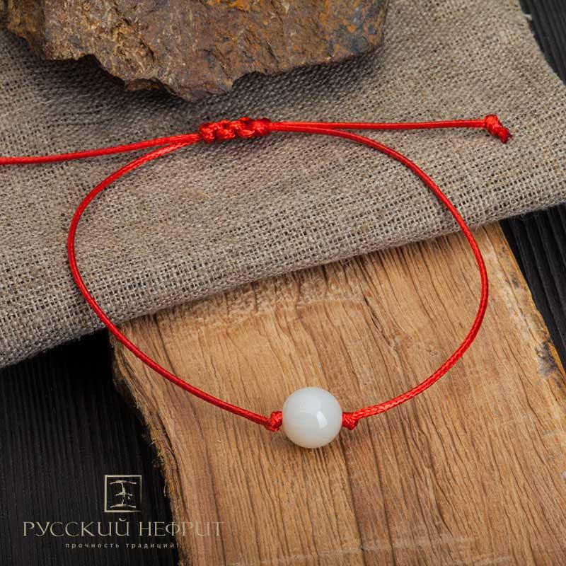 Красная нить с нефритом Браслет Красная нить с белым нефритом Браслет-КН-белый.jpg