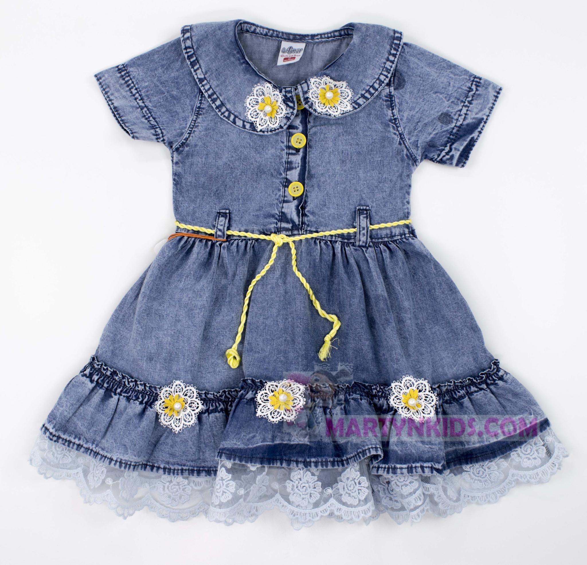 3341 платье  цветочки джинс