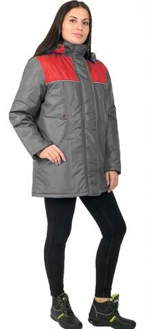 Куртка Снежана(тк.Дюспо), т.серый/красный