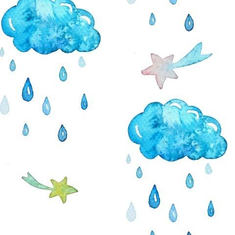 Тучки с дождиком на белом фоне