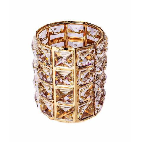 Подставка для кистей с кристаллами, цвет золото