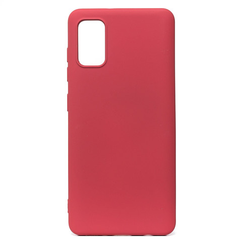 Чехол для Samsung (A415) Galaxy A41 Софт тач мягкий эффект   микрофибра бордовый