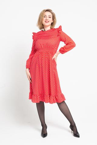Платье красное в белый горох недорого