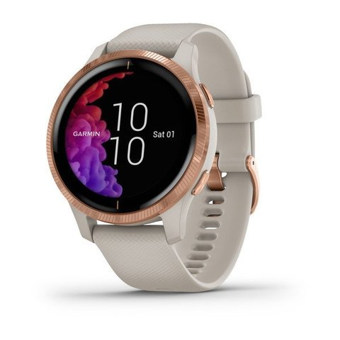 Garmin VENU - Rose Gold Stainless Steel Bezel with Light Sand Case and Silicone Band