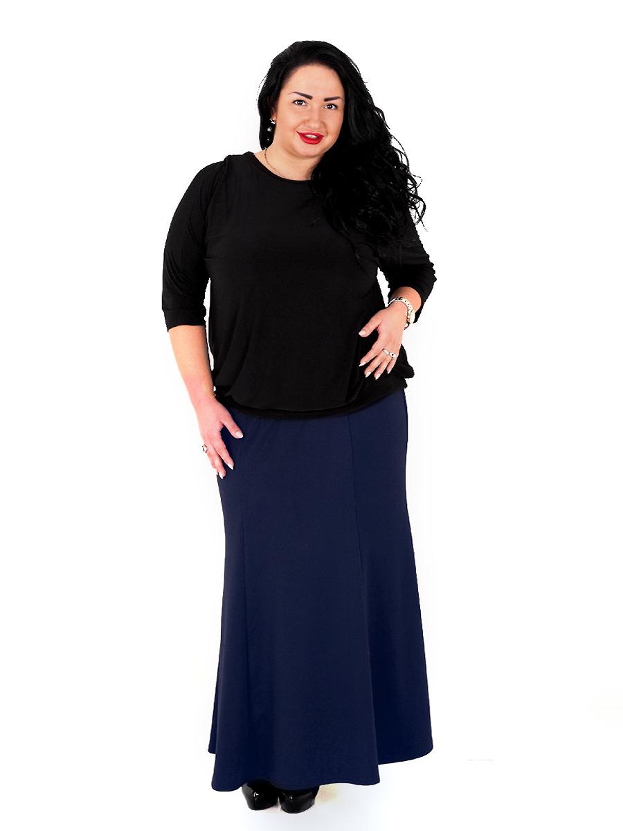 Длинная юбка-годе из джерси, тёмно-синяя