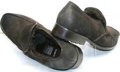 Мужские стильные туфли мокасины мужские нубук на зиму Welfare 555841 Dark Brown Nubuk & Fur.