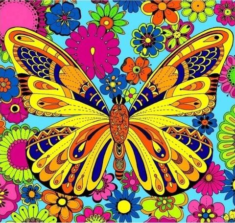 Алмазная Мозаика 20x20 Бабочка в цветах (арт. MM21204 )