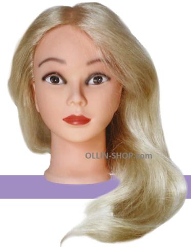 Голова учебная Блондин длина волос 45/50см, 100% натуральные волосы, штатив в комплекте