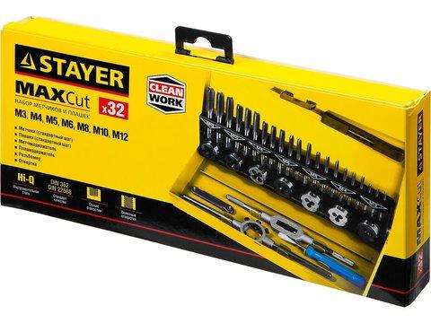 STAYER MaxCut 32 предмета, набор метчиков комплектных и плашек, легированная сталь