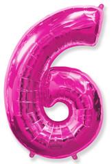 Воздушный шар (40''/102 см) Цифра, 6, Фуше, 1 шт.