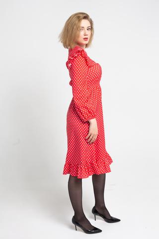 Платье красное в белый горох интернет магазин