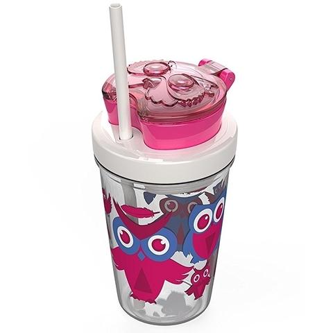 Стакан детский с трубочкой Contigo Snack Tumbler (0,35 литра), розовый