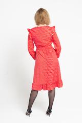 Платье красное в белый горох оптом