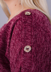 Муза. Кофточка с шарфом для женщин плюс сайз. Бордо.