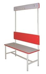 Скамья для раздевалок 1-сторонняя со спинкой и рейкой с крючками для одежды