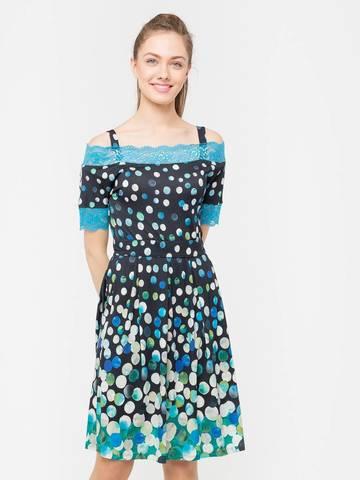 Фото приталенное платье в горошек с пышной юбкой и кружевом - Платье З174-421 (1)