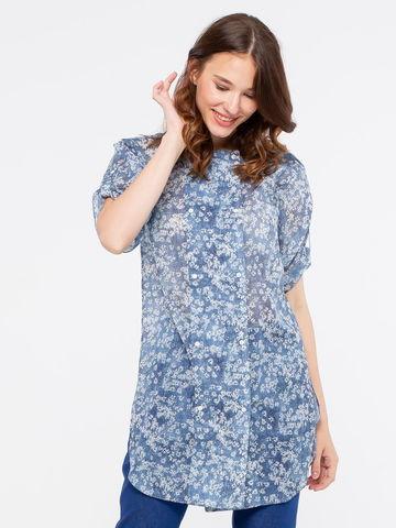 Фото удлиненная голубая блуза с квадратным вырезом на горловине - Блуза Г556а-140 (1)